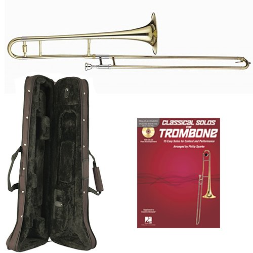 (Classical Solos Bb Tenor Slide Trombone Pack - Includes Trombone w/Case & Accessories & Play Along Book)