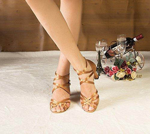 Heel 6cm Latin Miyoopark L121 Brown Ankle Satin Ladies MY Sandals Shoes Buckle Wrap Dance Wedding w66RBqxnX