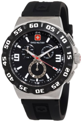 Swiss Military Calibre Men's 06-4R2-04-007 Racer Chronograph Black Dial Black Rubber Watch ()