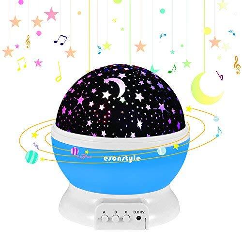ESONSTYLE 星空投影ライト 子供へ スタープロジェクター 投影ランタン 月と星の照明ランプ 子供への魔法 7色変化モード LED電球 360°回転 家庭用 ロマンチック 結婚式、誕生日、パーティー、寝室、子供部屋、 赤ちゃんの保育園 雰囲気つくり USB充電式と乾電池 (ブルー)