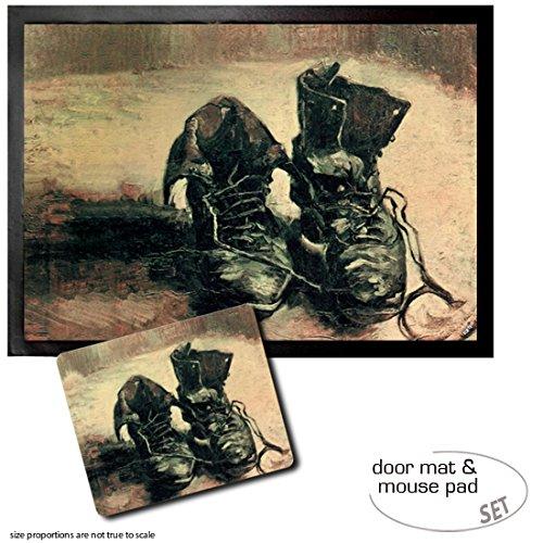 (Set: 1 Door Mat Floor Mat (28x20 inches) + 1 Mouse Pad (9x7 inches) - Vincent Van Gogh, Still Life, A Pair of Shoes, 1886)