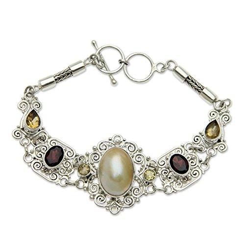 NOVICA Multi-Gem Garnet Cultured Freshwater Pearl .925 Sterling Silver Bracelet, 7