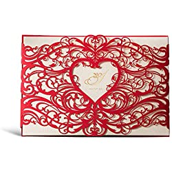 WISHMADE Laser Cut Invitations Cards Sets 50 Pieces for Wedding Birthday Bridal Shower with Envelopes and White Printable Paper Kits (Red)