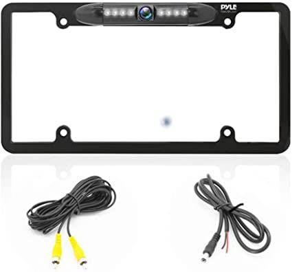 Pyle Pioneer Electronics USA Inc AZPLCM29MS Built-in Distance Scale Lines Backup Parking Reverse Assist Marine Grade Waterproof IP-67 Adjustable Slim Bar Cam Night Vision w// 420 TVL Resolution License Plate Frame Backup Camera