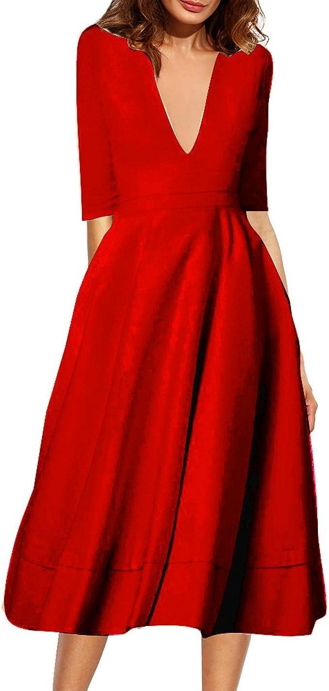 IHRKleid Belle Style Rückenfrei Kleid Damen Elegant Etuikleid Knielang  Festliche Kleider