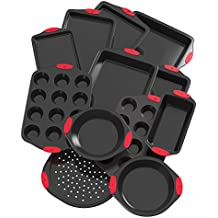 Vremi 12 Piece Nonstick Bakeware Set - Multi Size Baking Sheet and Pans in Non Stick Carbon Steel with Silicone Handles for Cake Muffin Cookie Pizza