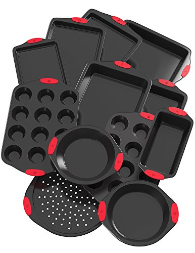 Vremi 12 Piece Nonstick Bakeware Set - Multi Size Baking Sheet and Pans in Non Stick Carbon Steel with Silicone Handles for Cake Muffin Cookie ()