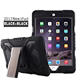New iPad 9.7 Inch 2018/2017 Case,Meiya Shockproof Waterproof Protective Rugged with Builtin Screen Protector Full-body Hybrid Protective Kickstand Case Kids Cover For Apple iPad 9.7 Inch 2018/2017/iPad 5 (Black+Black)