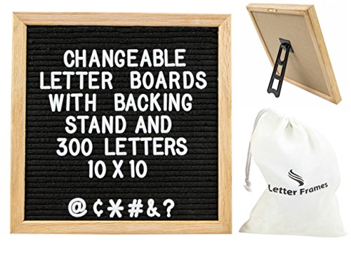 Changeable Black Felt Letter Board with Stand 10x10 Inch Premium Oak Frame with 300 Letters and Symbols by Letter Frames