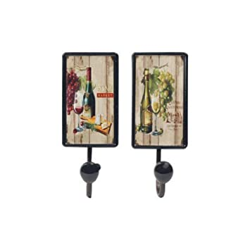 CAPRILO Set de 2 Perchas Pared Decorativas Vino con Pomo ...