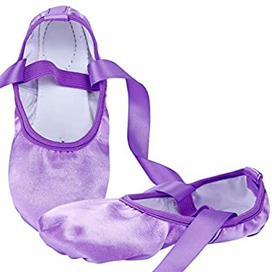 WENDYWU Ballet Dance Shoes Split Sole Flat Ballet Slippers with Ribbons (8C M US Little Kid, Purple)