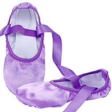 WENDYWU Ballet Dance Shoes Split Sole Flat Ballet Slippers with Ribbons (10C M US Little Kid, Purple)
