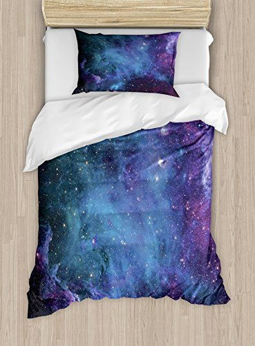 Ambesonne Outer Space Duvet Cover Set Twin Size, Galaxy Stars in Space Celestial Astronomic Planets of The Universe Milky Way Theme, A Decorative 2 Piece Bedding Set with 1 Pillow -