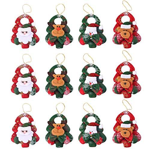Ornament Tree Santa Claus Christmas (Zivisk Christmas Tree Ornaments Decorations - 12Pcs 3D elk, Santa Claus, Snowman, Bear Christmas Holiday Party Decor)