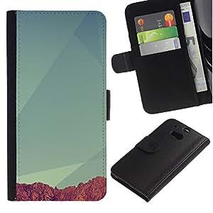 NEECELL GIFT forCITY // Billetera de cuero Caso Cubierta de protección Carcasa / Leather Wallet Case for HTC One M8 // Geometría Montaña