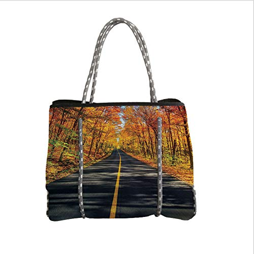 Neoprene Multipurpose Beach Bag Tote Bags,Fall Decor,Endless Rural Road Through Vibrant Treed Corridor Landscape Scenic Countryside Decorative,Multicolor,Women Casual Handbag Tote Bags