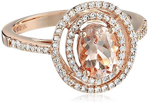 10k Rose Gold Morganite and Diamond Ring , Size 7