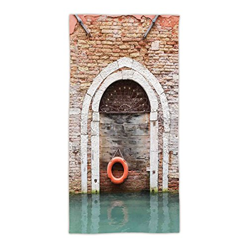 "31.49""W x 62.99""L Cotton Microfiber Bath/Hand Towel,Rustic,Timber Door with Lifebuoy in Venice Italian Mediterranean Culture Tourist Place Print,Red Brown,Ultra Soft,For Hotel Spa Beach Pool Bath"