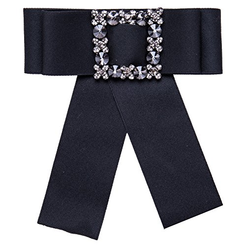 VEINTI+1 British Style Satin Ribbon Bowknot Design Brooch Pin Necktie for Women's Shirt Tie (Style Ear Pin)