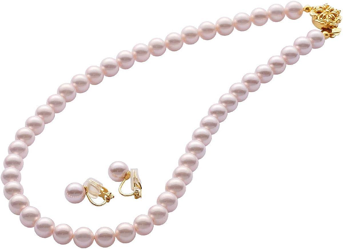 高級国産パールネックレス ピンクイヤリング Amazon