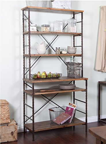 ModHaus Living Industrial Rustic 6 Tier Metal with Adjustable Wood Shelves Bakers Rack for Kitchens - Includes - Rack Bronze Bakers Kitchen