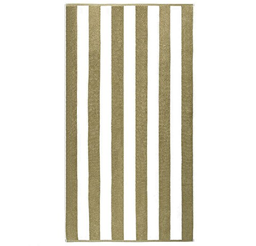 PH 2 Piece Taupe Classic Resort Cabana Stripes 40 X 70 Inches Beach Towel, Light Brown Geometric Vertical Stripe Bold Line Long Staple Egyptian Cotton Oversized Quick Dry Soft Long Lasting Pool Towel