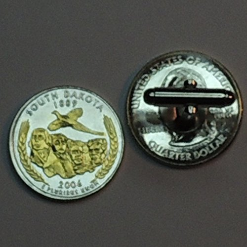 So. Dakota Statehood Quarter - Gorgeous 2 Toned(Uniquely Hand Done) Gold on Silver coin cufflinks for men - men's jewelry men's accessories for him groomsmen