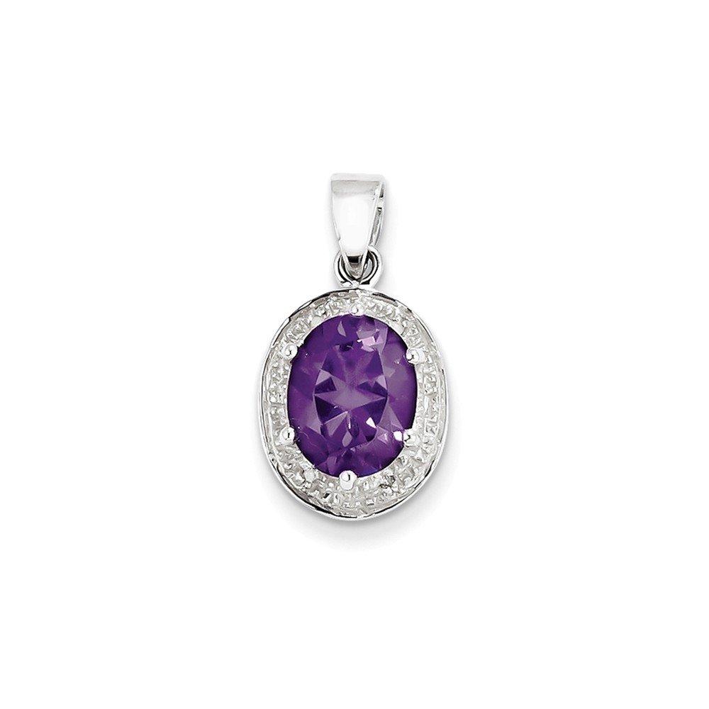 Sterling Silver Rhodium Amethyst /& Diamond Pendant