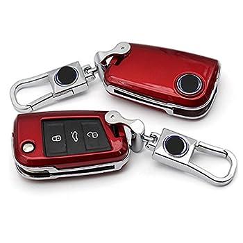 Car key fob skin bag cover case holder For DAS AUTO Volkswagen VW Golf 7 mk7 Magotan Passat B8 Car key fob skin bag cover case holder (Red)