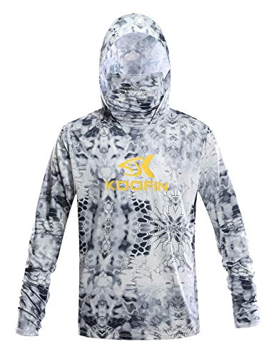 13e566c2 Performance Fishing Hoodie with Face Mask Hooded Sunblock Shirt Sun Shield Long  Sleeve Shirt UPF 50 Dry Fit Quick-Dry Grey