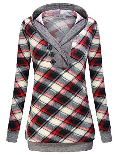 Tunic Tops for Leggings for Women, Misses Sweaters Cowl V Neck Long Sleeve T Shirt Pullover Hoodie Chic Multicolor Geometric Gingham Printed Hooded Sweatshirt for Running Activities Red ()