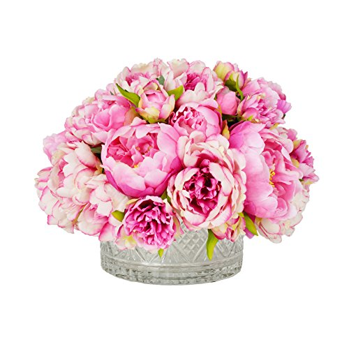 (Clusters of Fresh Pink Peonies in Cut Glass Crystal Vase)