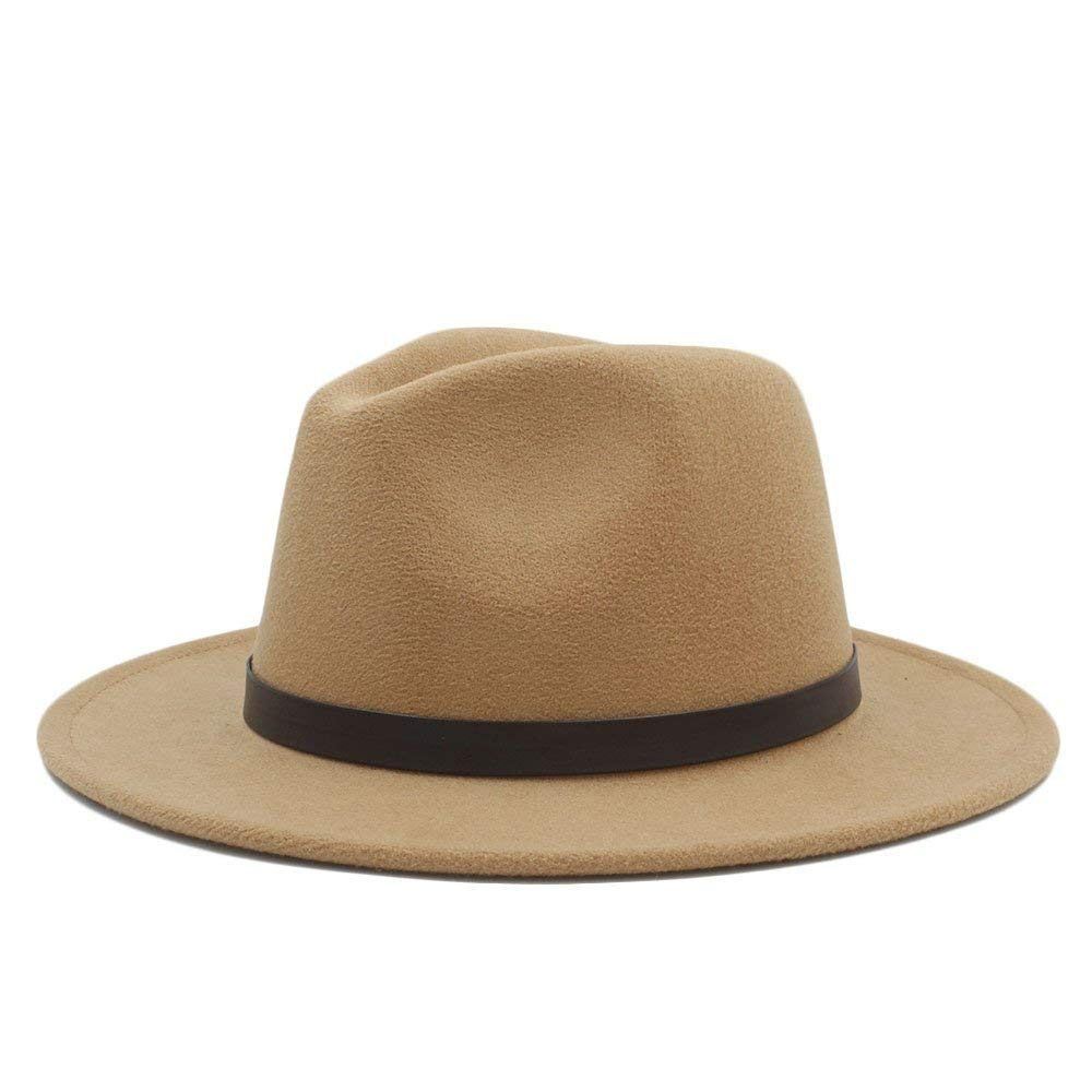 98912206ab8 Amazon.com   Goodscene Fashion Unisex Winter Hat Home Men and Women Hat -  Fedora Khaki DIY Belt Hat for Gentleman Crushable Hantom Dad Bowler Hats    Sports ...