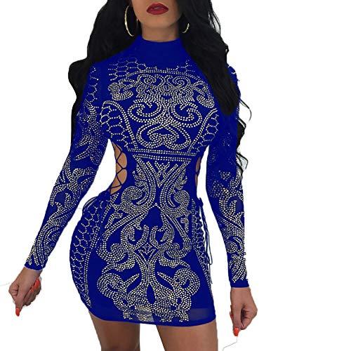 (Nhicdns Women's Sexy Rhinestone Mesh See Through Sequins Sheer Bodycon Cocktail Party Club Pencil Dress)