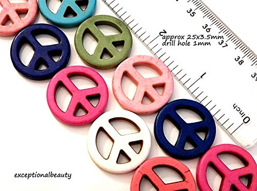 Pendant Jewelry Making 16 Assorted Color Mix Howlite 1 Inch Flat Peace Sign Cutout Colorful - Pendant Flat Sign Peace