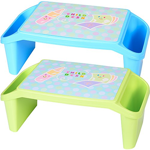 NNEWVANTE Lap Desk for kids with Storage Portable Children's Table for Homework or Reading Breakfast Bed Tray Child Art Plastic Stackable Table, Pack of 2 : Blue and Light Green (Table Breakfast With Storage)