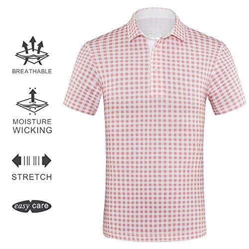 Us Gangster (EAGEGOF Men's Shirts Light Pink Plaid Short Sleeve Tech Performance Golf Polo Shirt Loose Fit)