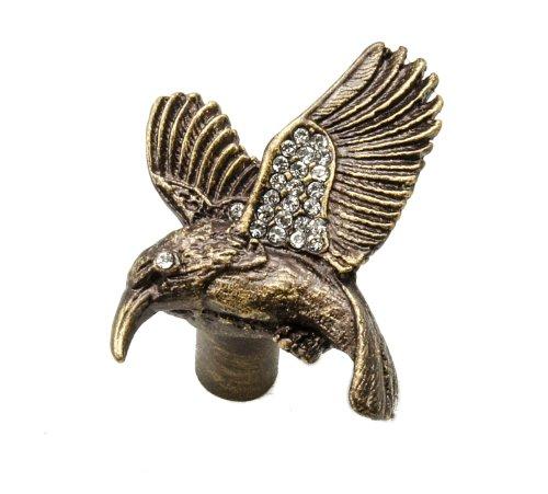 - Carpe Diem Hardware 2293-3 in The Garden Hummingbird Knob Made with Swarovski Elements, Antique Brass