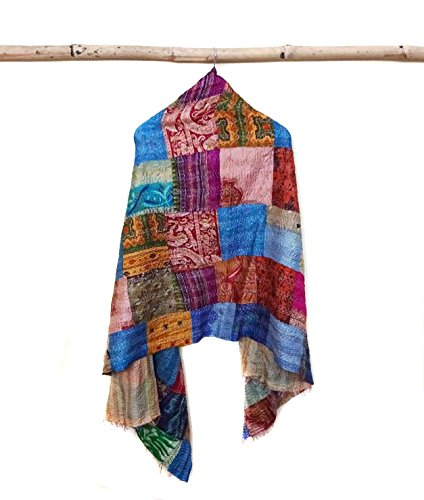 Silk Kantha Scarf Neck Wrap Stole patchwork Hand Quilted Women Bandanas band