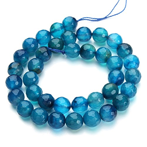 Linsoir Beads Faceted Blue Onyx Agate Beads Gemstone Loose Beads 40cm/Packet (Gorgeous Glass Strand Necklace)