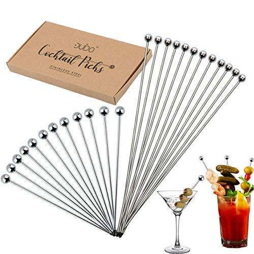 - Cocktail Martini Picks and Stirrers Toothpicks - (24-PACK) 4 inch and 8 inch Reusable Cocktail Picks - Stainless Steel Metal Drink Skewers Sticks for Martini Olives Appetizers Bloody Mary Fruits