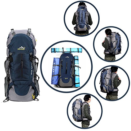 ONEPACK 50L Hiking Backpack Daypack Waterproof Backpacking Outdoor Sport Trekking Bag with Rain Cover for Women Men Youth Climbing Mountaineering Camping Fishing Travel Cycling Skiing (50L Blue)