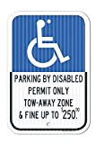 State of Florida Parking by Disabled Permit Only and Fined Sign - 12''x18'' Aluminum 3M EGP Prismatic Engineer Grade Reflective Handicap Parking Sign for Indoor Or Outdoor Use - by SIGO Signs