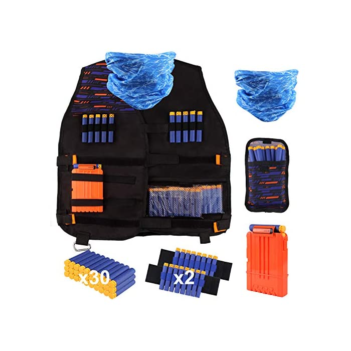 51sN6nLwRfL Equipo completo: el kit de chaleco táctico es perfecto para pistolas Nerf, incluye 1 chaleco táctico ajustable, 1 máscara táctica táctica, 1 funda para dardo, 1 pieza de clips de recarga rápida, 1 pieza de muñequeras ajustables, 30 piezas de dardos azules suaves. Siempre que vaya a actividades al aire libre o visite a sus amigos, puede tomarlo y compartirlo con otros. Seguridad: rellene los dardos de plástico y espuma de alta calidad, material no tóxico. La mascarilla previene el polvo en su boca y nariz, y mantiene la transpiración fuera de la cara de los niños cuando juegan. Experiencia de juego: Buena herramienta para practicar la habilidad de tiro. Los artilleros de Cosplay con una máscara táctica súper genial ofrecen un asombroso impacto visual en el juego, como todos los detonadores de élite Firewire y los explotadores más originales. Te divertirás mucho con la guerra de armas segura. El kit es un regalo perfecto para el niño, especialmente para los niños.
