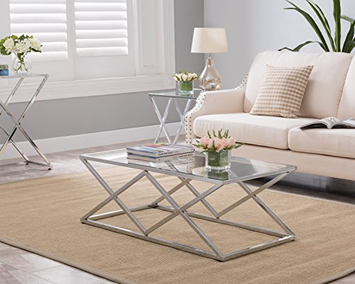 Chrome Finish / Glass Top Metal Frame Cocktail Coffee Table with Double X Designs (Chrome Coffee Table)