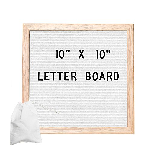 White Felt Letter Board with 308 Letters, Numbers & Symbols - 10x10 inch Changeable Message Board with Oak Wooden Frame,Plus Free Letter Bag by Ilyapa