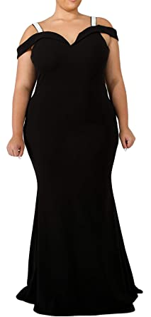 322b60af34e4 Arctic Cubic Plus Size Short Sleeve Rhinestones Cold Open Shoulder Long Maxi  Bodycon Fishtail Mermaid Dress