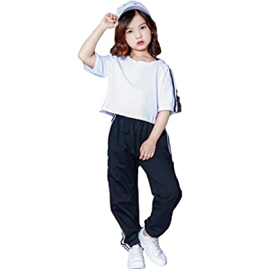 ccb4f8d5ccd82 キッズ ヒップホップ ダンスウェア ジャズ ダンス衣装 女の子 Tシャツ ズボン ダンス セットアップ 上下2