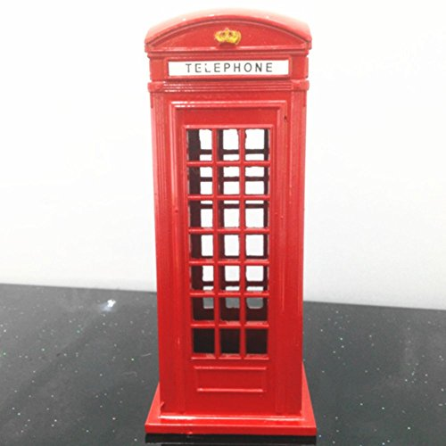 BeeSpring 1 X Original British English Metal Alloy Money Coin Spare Change Piggy London Street Red Telephone Booth Bank Souvenir Model Box - Spare Models