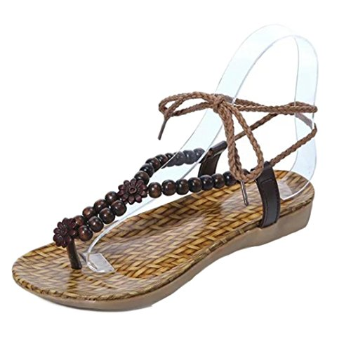 cca05e210 durable modeling Hot Sandals ! AMA(TM) Women Summer Flat Beads Bohemia  Sandals Lady